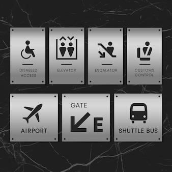 Aeroporto assina ícone vector set