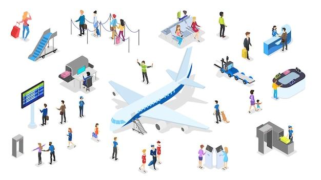 Aeroporto com conjunto de passageiros. check-in e segurança, sala de espera e registro. pessoas com passaporte olham a programação. conceito de viagens e turismo. ilustração isométrica