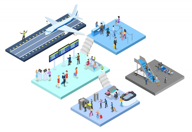 Aeroporto com conjunto de passageiros. check-in e segurança, sala de espera e registro. pessoas com passaporte olham para a programação. conceito de viagens e turismo. ilustração isométrica
