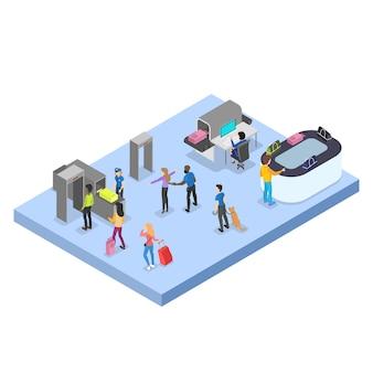 Aeroporto com conjunto de passageiros. check-in e segurança