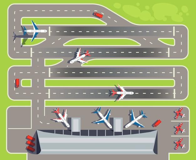 Aeroporto com terminal de passageiros