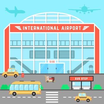 Aeroporto de fachada com parada de ônibus