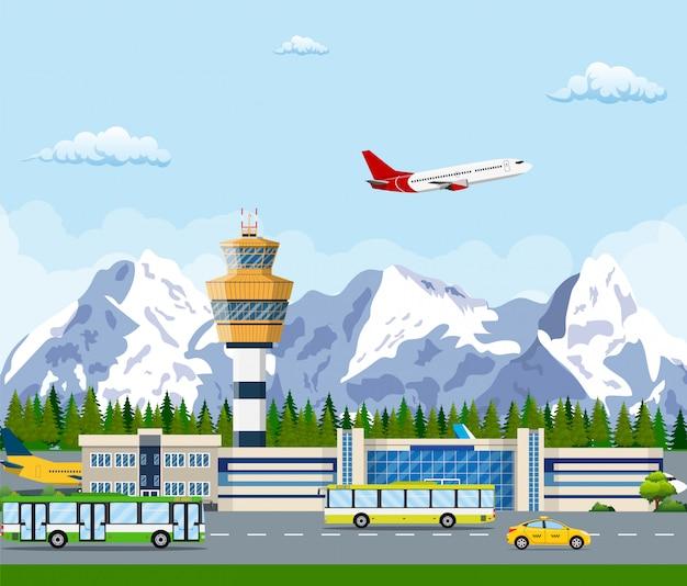 Aeroporto internacional nas montanhas