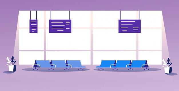 Aeroporto vazio sem pessoas esperando salão partida moderno terminal interior