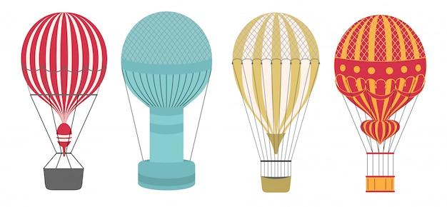 Aerostat balão de ar estilo ícone definido. limpo e simples.