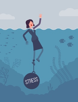 Afogamento de empresária acorrentado com um estresse de peso