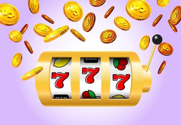 Afortunado sete máquina de entalhe e moedas douradas no fundo roxo.