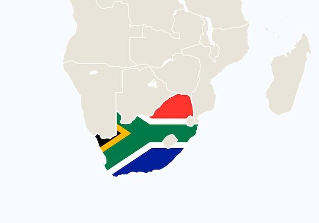 África com o mapa da áfrica do sul em destaque. ilustração vetorial.
