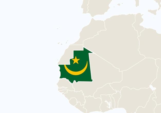 África com o mapa da mauritânia em destaque. ilustração vetorial.