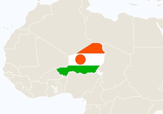 África com o mapa do níger em destaque. ilustração vetorial.