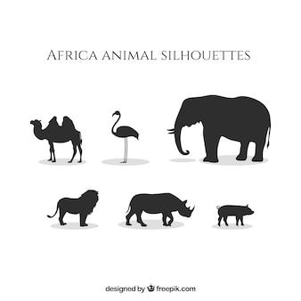 África silhuetas animais