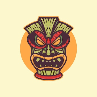 African wood mask logo
