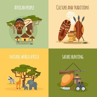Africana 4 ícones lisos quadrado composição
