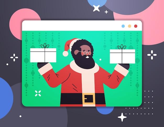 Africano americano papai noel segurando presentes feliz ano novo, feliz natal, feriados, celebração, conceito, janela, navegador web, ilustração vetorial horizontal retrato