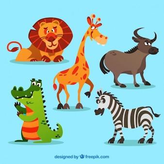 Africano animais dos desenhos animados ajustados