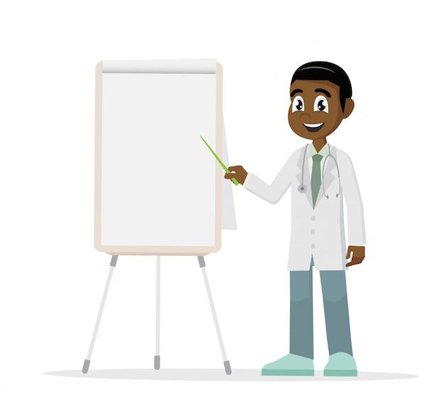 Africano médico apontando um quadro branco.