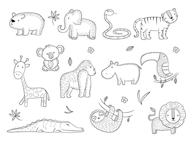 Africano safari animais selvagens macaco hipopótamo tigre linhas desenhando imagens.