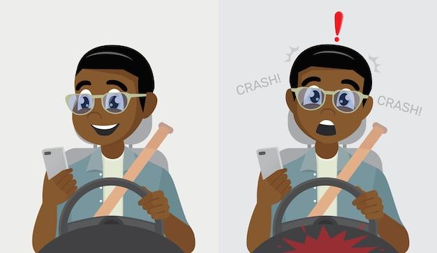Africano segurando o telefone celular enquanto dirige acidente de carro