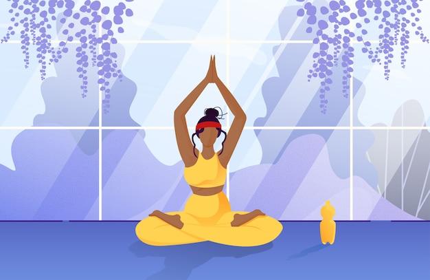 Afro-americana mulher relaxar em casa jardim cartoon