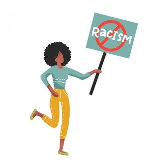 Afro-americana mulher segurando nenhum sinal de racismo