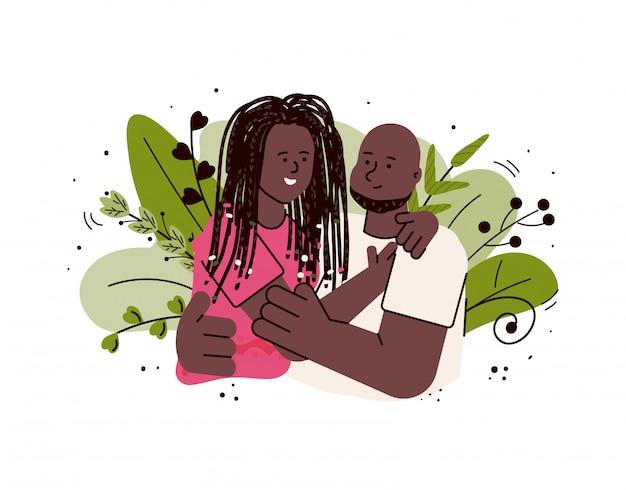 Afro-americano casal apaixonado, abraçando, ilustração dos desenhos animados