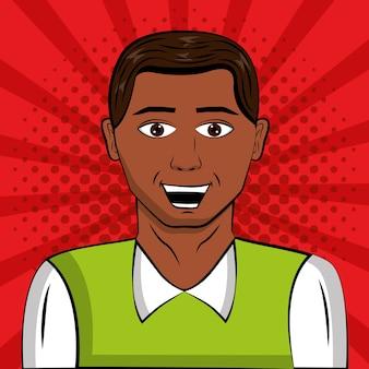 Afro americano homem pop art comic