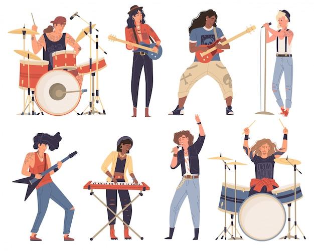 Afro-americanos, homens caucasianos, mulher, músicos tocando instrumentos musicais. banda de rock.
