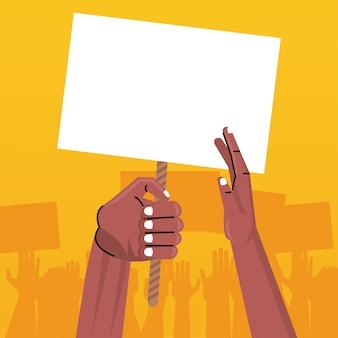 Afro mãos humanas protestando levantando um cartaz vazio
