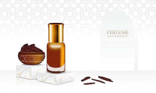 Agarwood de perfume com frasco isolado e padrão