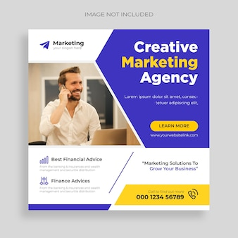Agência de branding mídia social corporativa pós banner ou flyer quadrado free vector