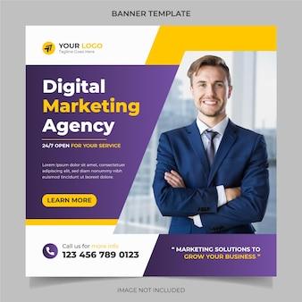 Agência de marketing digital banner de mídia social corporativa e vetor de design de modelo de postagem do instagram