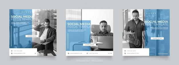 Agência de marketing digital de negócios mídias sociais postam banners