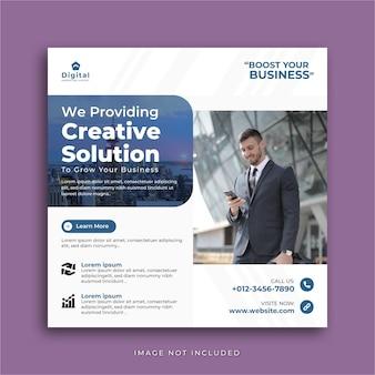 Agência de marketing digital de solução criativa e folheto corporativo elegante, post de instagram de mídia social square ou modelo de banner da web