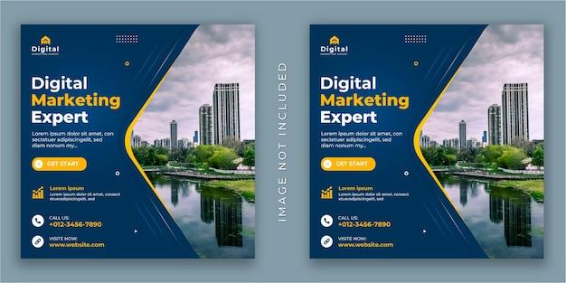 Agência de marketing digital e folheto de negócios corporativos, post de instagram de mídia social square ou modelo de banner da web