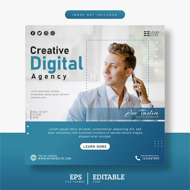 Agência de marketing digital e modelo de banner de postagem de mídia social corporativa