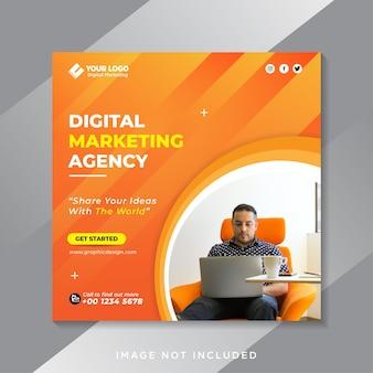 Agência de marketing digital e modelo de postagem de mídia social corporativa Vetor Premium