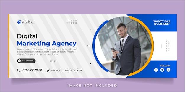 Agência de marketing digital e negócios corporativos facebook cobrem modelo de banner de postagem de mídia social