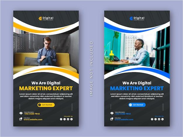 Agência de marketing digital e panfleto corporativo, histórias do instagram, postagem em mídia social ou modelo de banner