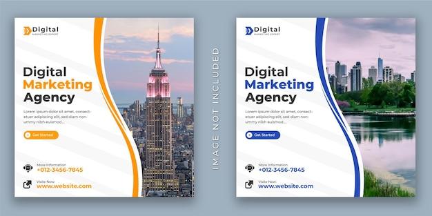 Agência de marketing digital e post de panfleto corporativo no instagram ou modelo de banner