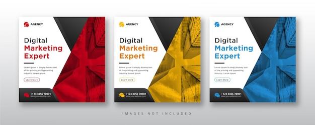 Agência de marketing digital mídia social e banner da web