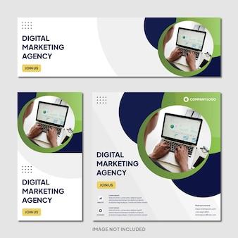 Agência de marketing digital modelo de banner de postagem do instagram fundo moderno