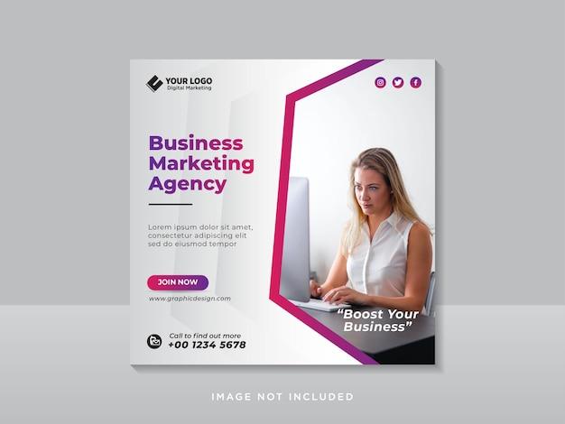 Agência de marketing digital para empresas de mídia social pós-banner da web Vetor Premium