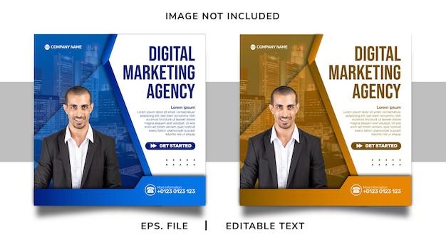 Agência de marketing digital promoção de mídia social e design de modelo de postagem de banner instagram