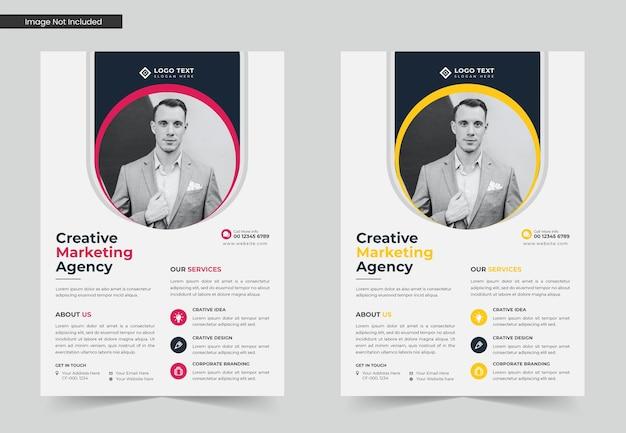 Agência de marketing ou conjunto de design de modelo de folheto de negócios ou modelo de folheto a4