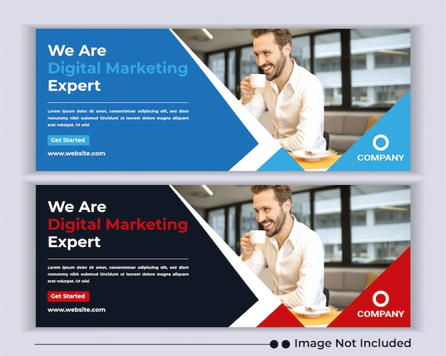 Agência de negócios corporativos web banner modelo de capa de facebook de mídia social.