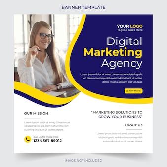 Agência de negócios digital profissional editável, postagem em mídia social e design de modelo de banner