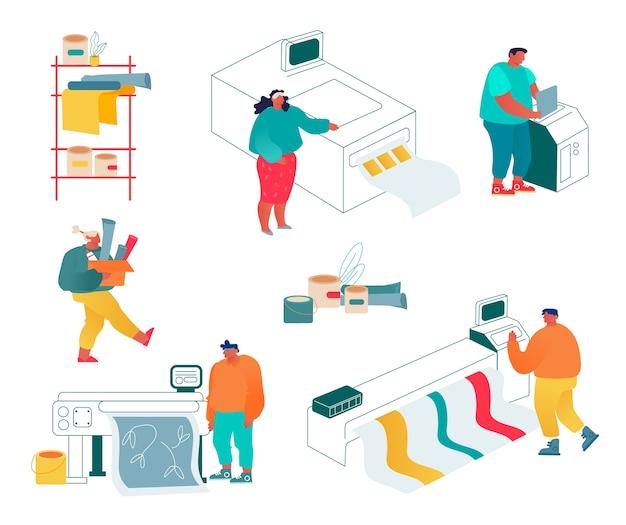 Agência de publicidade de casa de impressão, conjunto de indústria de poligrafia