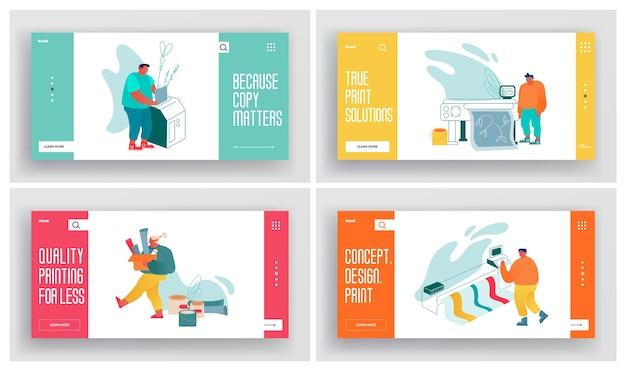 Agência de publicidade de casa de impressão, página de destino do site da indústria de poligrafia
