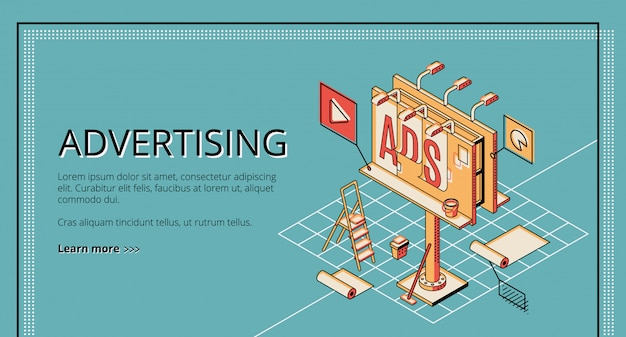 Agência de publicidade, empresa de marketing digital, banner web isométrica de serviço de promoção on-line