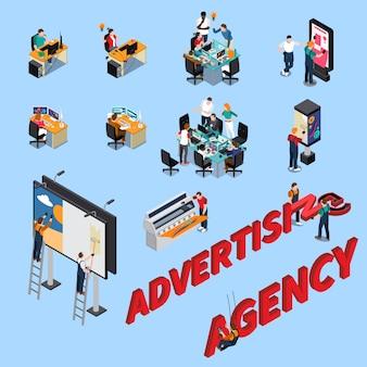 Agência de publicidade isométrica pessoas